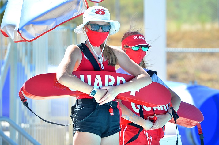 Lifeguards Megan Palmer, left, and Delainey Kesler and visitors will be required to wear masks at the Camp Verde pool when not in the water. VVN/Vyto Starinskas