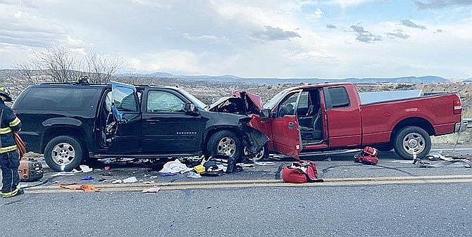 Jill Knox, 47, of Rimrock, was charged this week with manslaughter after this Feb. 10 collision killed her 5-year-old daughter and injured her and the lone occupant of the pickup truck on the right. Knox is also charged with two counts of aggravated DUI and one count each of criminal damage, aggravated assault and endangerment. YCSO courtesy photo