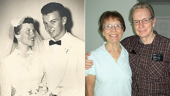 Stan and Anita Simons are celebrating their 65th wedding anniversary, pictured then and now. (Courtesy)