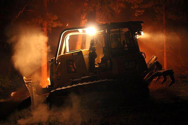 A dozer works the nightshift on the Mangum Fire on the North Kaibab Plateau June 20. (Photo/Inciweb)