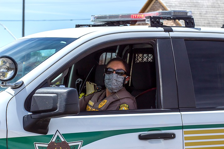 An officer with the Navajo Police Department patrols in Tuba City, Arizona. (Photo courtesy of Gilbert Honanie)