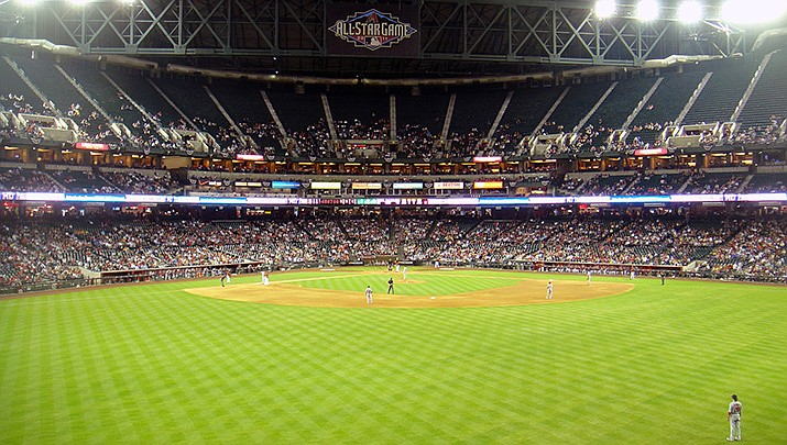 Major League Baseball will return with a 60-game season with the opener set for late July. Chase Field in Phoenix is shown. (Photo by Cygnusloop99, cc-by-sa-3.0, https://bit.ly/2zR19WD)