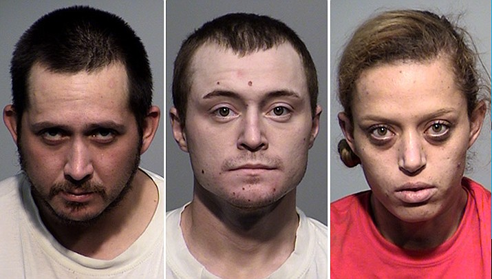Jimmie Treakle, Alec Ramsey and Areanna Newhall were all arrested in Cottonwood for allegedly possessing and selling fentanyl pills. (YCSO/Courtesy)