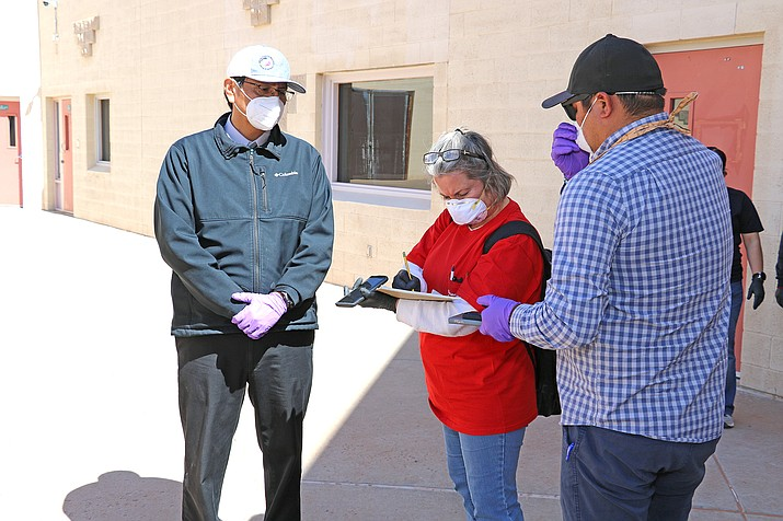 Navajo Nation President Jonathan Nez and Vice President Myron Lizer join a team from the U.S. Army Corps of Engineers on April 7 as it conducts site assessments of potential alternate care facilities in Navajo and Coconino counties. (Photo courtesy U.S. Army Corps of Engineers Los Angeles District/Creative Commons)