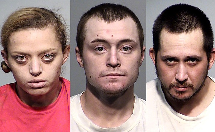 From the left, Areanna Newhall, 23, Alec Ramsey, 24, and Jimmie Treakle. 33, all of Cottonwood, were arrested Monday at a motorhome parked on property in the 2400 block of South Cedar Lane in Cottonwood. There were a total of 259 fentanyl pills found in the motorhome. Courtesy of Yavapai Sheriff's Office