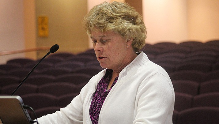 Denise Burley, Mohave County's director of public health, talks to the Mohave County Board of Supervisors about the coronavirus pandemic at a recent meeting. (Photo by Agata Popeda/Kingman Miner)