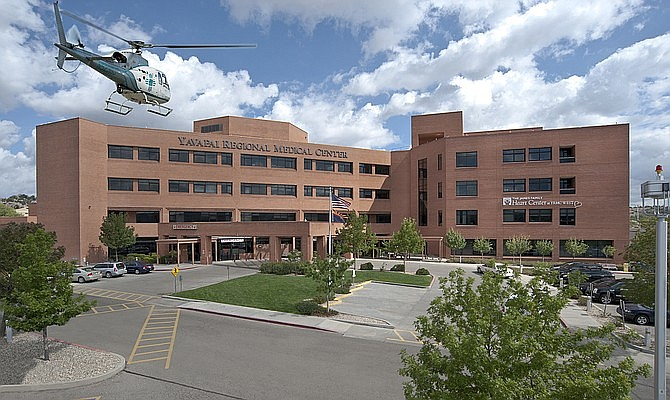 A medical care helicopter flies toward the heliport at Yavapai Regional Medical Center's west campus in Prescott. Communications and Marketing Director Ken Boush said on Wednesday, June 24, the hospital is not planning to accept transfer patients from Phoenix or any other Arizona hospitals, nor does it expect to do so. It is also restricting elective procedures to deal with the rise in COVID-19 hospitalizations. (YRMC/Courtesy)