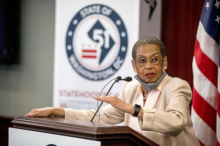 Delegate Eleanor Holmes Norton, D-D.C., speaks at a news conference on District of Columbia statehood on Capitol Hill, Tuesday, June 16, 2020, in Washington. House Majority Leader Steny Hoyer of Md. will hold a vote on D.C. statehood on July 26. (Andrew Harnik/AP)