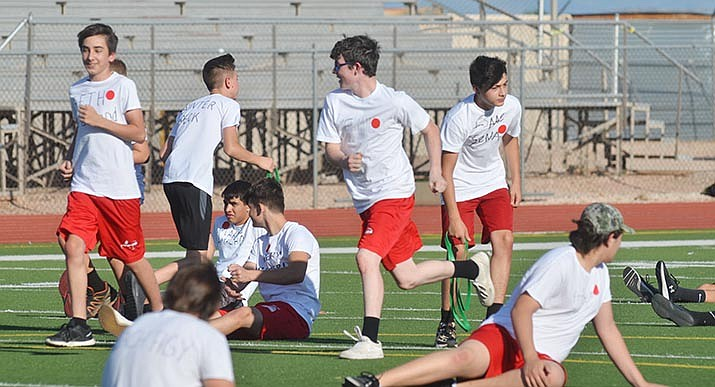 Mingus Union High School football players participate in a workout earlier this month. Mingus Union Athletic Director Yancey Devore said Friday that all of the school's summer practices and workouts have been canceled. VVN file/Vyto Starinskas