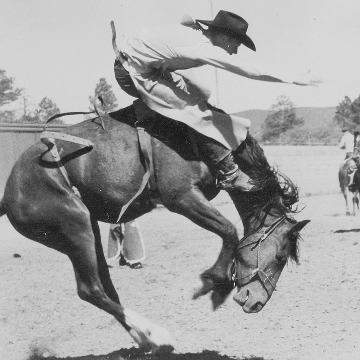 View of rodeo in Prescott, circa 1920s. Part of the Bate Collection, PC-1, call #1080.01010002. (Sharlot Hall Museum Research Center/Courtesy photo)
