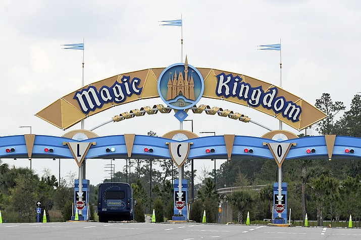 In this March 16, 2020 photo, the entrance to the parking lot at the Magic Kingdom at Walt Disney World is closed in Lake Buena Vista, Fla. The NBA will be calling it home for the time being. (John Raoux/AP, File)