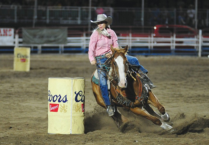 Tarryn Lee has an 18-second run in the barrel race during the 2019 Prescott Frontier Days Rodeo. (Les Stukenberg/Courier, file)
