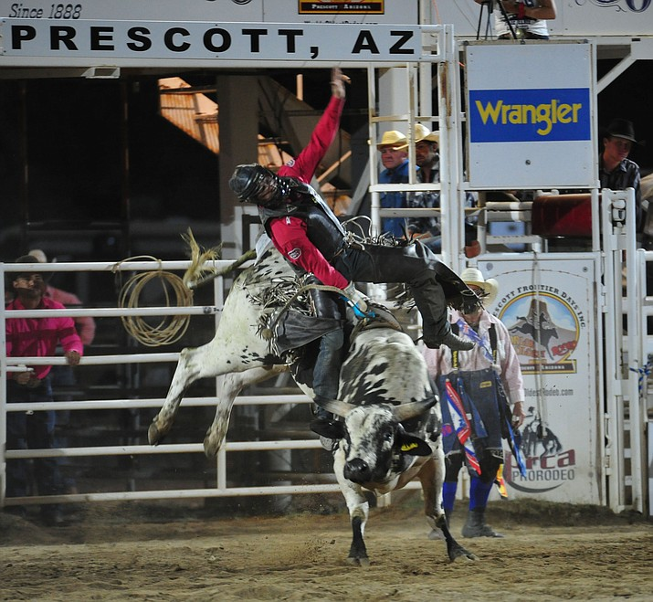 Tyler Bingham on Nitro Fusion in the bull riding during the 2019 Prescott Frontier Days Rodeo. (Les Stukenberg/Courier, file)