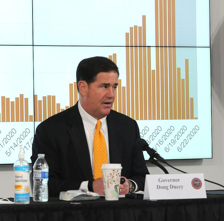 Gov. Doug Ducey on Thursday, June 25, 2020, discusses the increasing number of Arizonans infected with COVID-19. (Howard Fischer/Capitol Media Services)