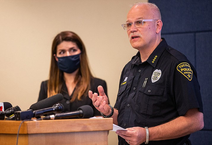 Tucson Police Chief Chris Magnus, right, and Mayor Regina Romero during a news conference on June 24, 2020, about the death of Carlos Ingram-Lopez of Tucson while in police custody in April. (Josh Galemore/Arizona Daily Star, via Cronkite)