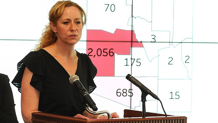 The coronavirus surge continues across Arizona, with a record 2,858 new cases reported by the Arizona Department of Health Services on Sunday, June 28. State Health Director Dr. Cara Christ is shown above briefing the media about the pandemic. (File photo by Howard Fischer/For the Miner)