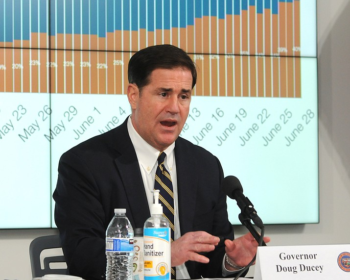 Gov. Doug Ducey explains his decision Monday, June 29, 2020, to once again close bars and restrict other activities amid a spike in COVID-19 infections. (Howard Fischer/Capitol Media Services)