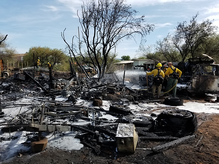 Property damaged in a fire caused by the use of a grinder in Cornville on June 28, 2020. (YCSO/Courtesy)