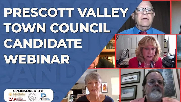 A public webinar was held June 24 featuring the 10 candidates vying for four seats on the Prescott Valley Town Council. (Screenshot)
