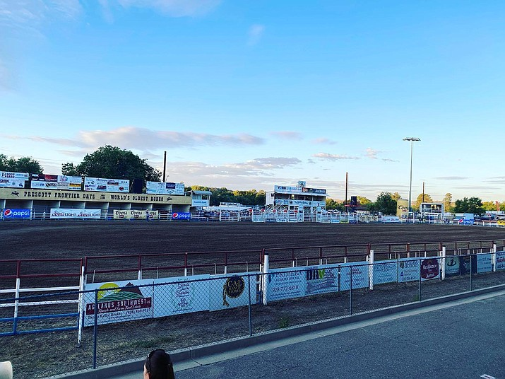 "This photo shows the Prescott Rodeo Grounds just minutes before Monday's opener of the 133rd annual ""World's Oldest Rodeo."" (WOR/Courtesy)"