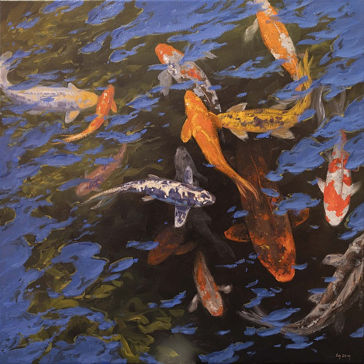 """Andrea's Koi Pond"" is an oil painting by Cody DeLong. Although COVID-19 has postponed the Jerome Art Walk until further notice, this Independence Day there is still some good art news to share on jeromeartwalk.com."