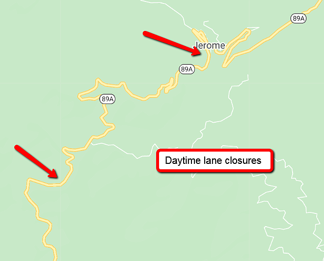 Daytime lane closures of north- and southbound Highway 89A near Jerome originally scheduled for June 29 through July 1 has been postponed. (ADOT/Coutesy)