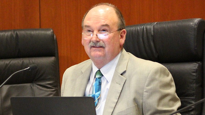 Retiring Mohave County Manager Mike Hendrix, shown above, was sent off by the county board of supervisors with a roast at a meeting on Monday, June 29. (Miner file photo)