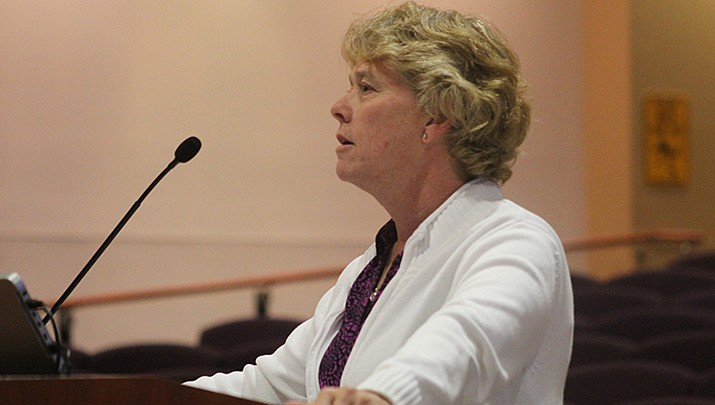 Denise Burley, the Mohave County director of public health, addresses the county board of supervisors. (Miner file photo)
