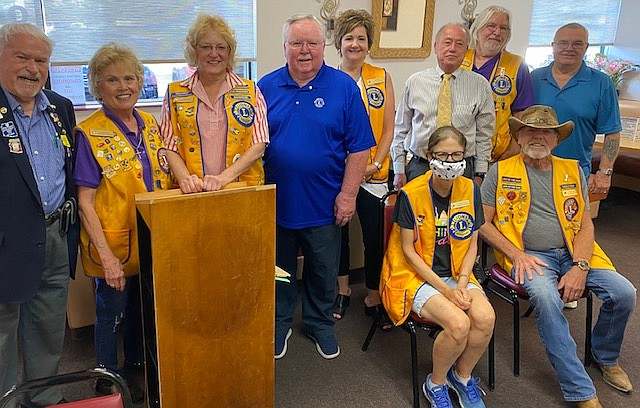 The Prescott Valley Early Bird Lions Club's new officers for 2020-21 are: District Governor Elect Chuck Mathews, who conducted the installation; President Debby Waugh; Past President Linda Burk; Treasurer John Agan; First Vice President Kari Reily; Second Vice President Larry Tarkowski; Membership Chair Jeff Riden; and Secretary Rick Anderson. Seated are: Tail Twister Susan Stowe and Lion Tamer Kevin Cooke. (Prescott Valley Early Bird Lions Club/Courtesy)