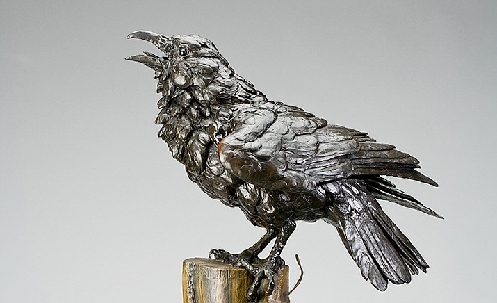 "Bryce Pettit's new bronze, ""Raven"" is an animated and detailed work of art. Mountain Trails Gallery at Tlaquepaque in Sedona will present ""Traditions in Western Sculpture: Figurative, Wildlife, and the Stories They Tell,"" beginning Friday, July 3."