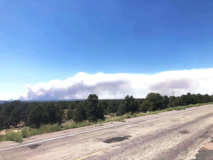 The Wood Spring Two fire is approximately five miles northwest of Sawmill, Arizona as of June 29. (Photo/BIA Wildland Fire Management, Navajo Region)