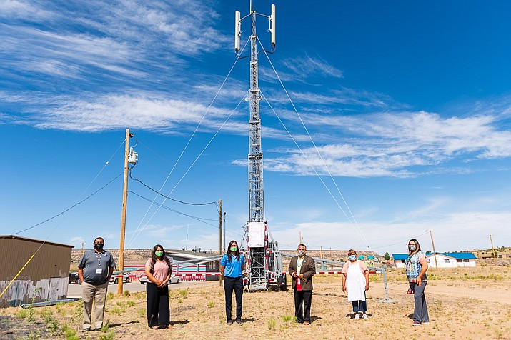 A ribbon cutting ceremony was held to commemorate the first-ever cellular access for the surrounding area. (Photo courtesy of the Office of the Navajo Nation Speaker)