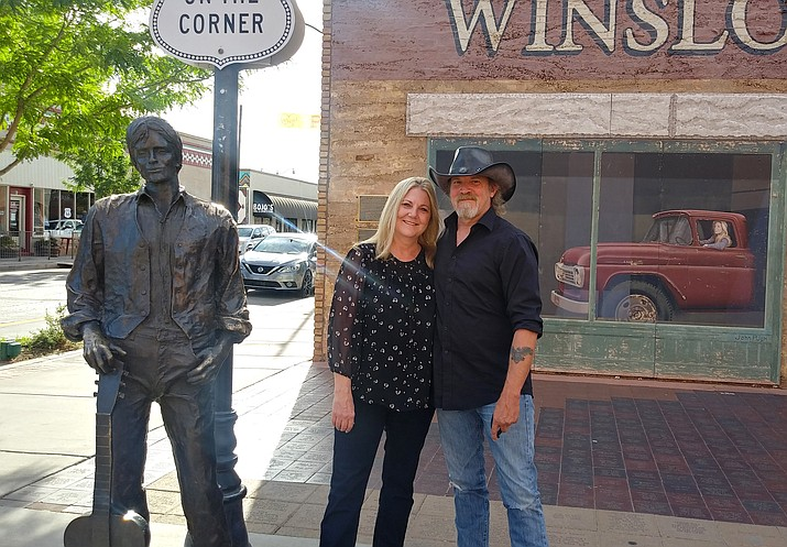 Williams News cartoonist, Rowdy, was married June 26 on the corner in Winslow, Arizona. (Submitted photo)