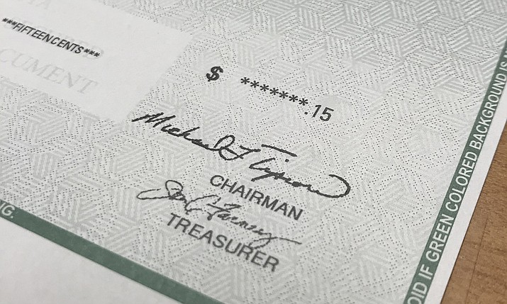 A rebate check for 15 cents (Courier photo)