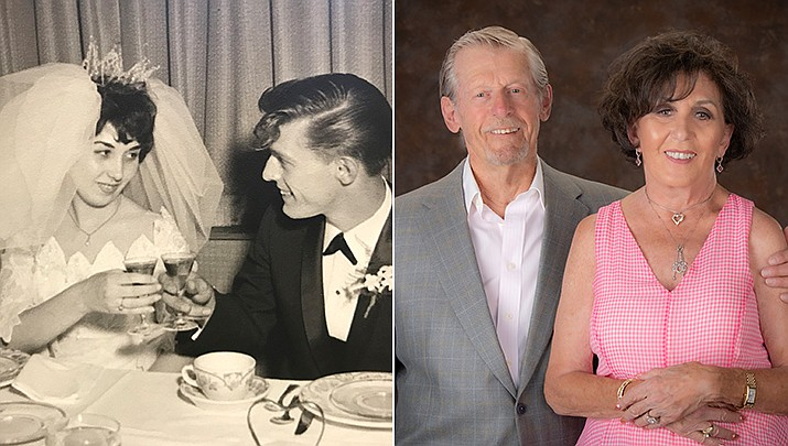 Mary and Douglas Weber of Prescott are celebrating their 60th wedding anniversary, pictured then and now. (Christopher Marchetti/Courtesy)