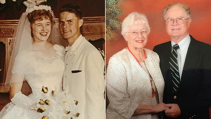Patricia and Marty Sperry have celebrated their 60th wedding anniversary, pictured then and now. (Courtesy)