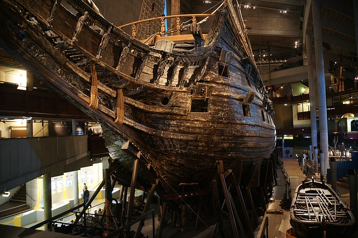 A view of the bow of the Vasa, a 17th-century Swedish warship which sunk on its maiden voyage. The ship is on display at the Vasa Museum in Stockholm, Sweden. Researchers raised the wreck in 1961. (Photo by Javier Kohen, CC 3.0 license, https://bit.ly/3e3348r)