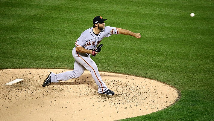 Madison Bumgarner, a recent acquisition of the Arizona Diamondbacks, reported to camp in good shape. He is shown in action for the San Francisco Giants. (Photo by Arturo Pardavila III, ccy-by-sa-2.0, https://bit.ly/38BLZBA)