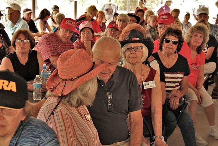 This file photo shows crowded conditions at the 2018 Mohave County Republican Picnic. The 2020 edition, to be held Saturday, July 18 at Mohave County-owned Hualapai Mountain Park, will feature safety precautions to prevent the spread of COVID-19. (Miner file photo)