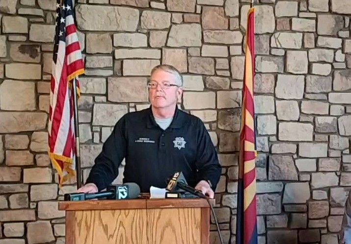 Gila County Sheriff Adam Shepherd speaks at a press conference for pilot Bryan Boatman who was killed while working the Polles Fire July 7. (Clip/GCSO video)