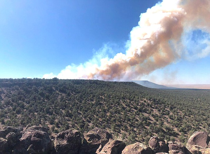 The Monument Fire has grown to 600 acres. It is located 30 miles northwest of Ash Fork. (Photo/Arizona Department of Forest and Fire Management)