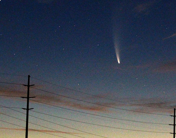 """For this photo of the Comet Neowise, Prescott Valley resident David Stoltzmann set up an 8"""" Meade quartz-drive mount with a platform to hold a DSLR camera while the mount's clock drive followed the comet. Exposures were only a couple of seconds with a 75-300mm f/5.6 telephoto lens operating at an ASA of 6400 with a Canon EOS SL1 (18 MP) camera. The photo was taken at 4:15 a.m. on Friday, July 10, 2020, with focal lengths of 300 and 75mm. (David Stoltzmann/Courtesy)"""