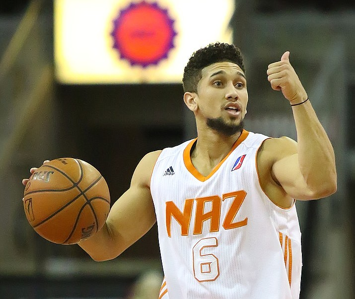 Former Northern Arizona Suns guard Askia Booker gestures for his teammates to run a specific play during a 2017 NBA G-League game at Findlay Toyota Center in Prescott Valley. The Northern Arizona Suns will be relocating to Phoenix, officials with the NBA's Phoenix Suns said this week. (Matt Hinshaw/Northern Arizona Suns, file)