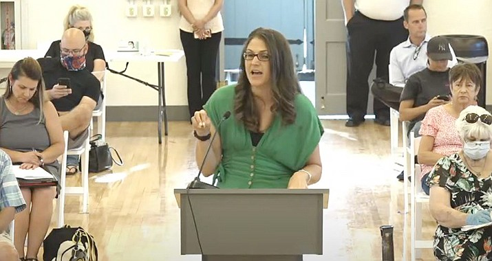 City of Cottonwood Finance Director Kirsten Lennon makes a point during the city's Fiscal 2021 final budget segment of Tuesday's meeting at the Cottonwood Community Clubhouse. The Council approved a $79.5 million budget that has includes a general fund that is $580,000 lighter than it was for Fiscal 2020. Courtesy of City of Cottonwood