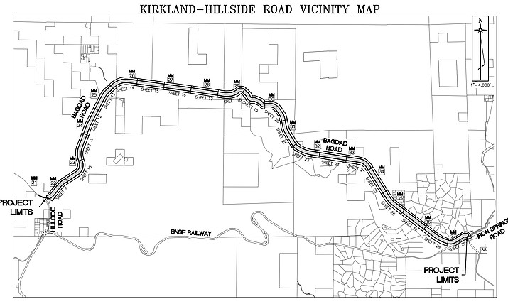 The length of the project is 15.8 miles in the Kirkland-through-Hillside area. Construction activities are expected to be done by Oct. 15. (Yavapai County Public Works/Courtesy)