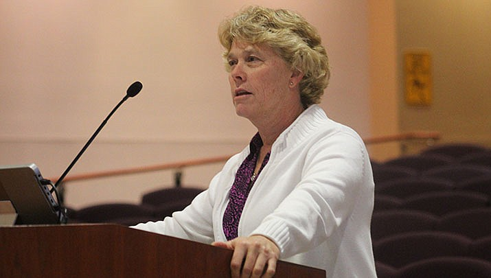 Mohave County Public Health Director Denise Burley talks to the county board of supervisors about the coronavirus pandemic. (Miner file photo)