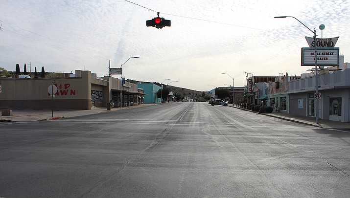 Dozens of Kingman area businesses took advantage of a federal forgivable loan program to help keep employees on the payroll during the coronavirus pandemic. A vacant Beale Street in downtown Kingman is shown above in March 2020. (Miner file photo)