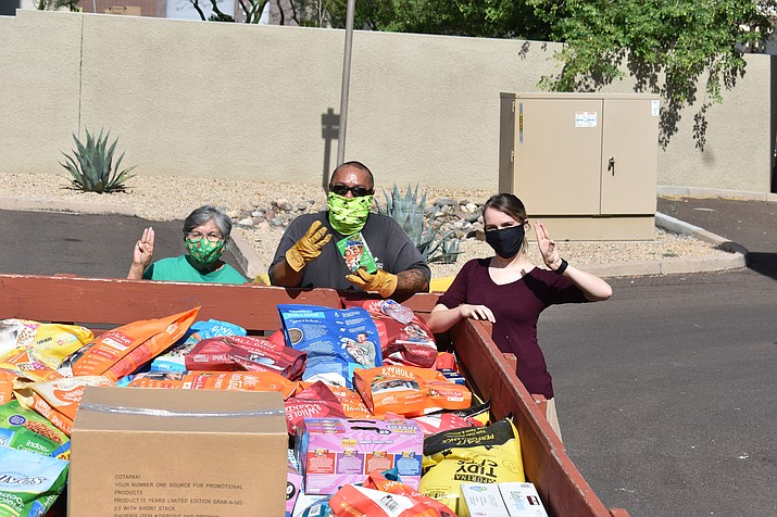 A box of donations sent from Glendale Girl Scout Troop 2232 to Pinon Girls Scout Troop 1430. Donations were spread out throughout the community of Pinon and surrounding areas hard hit by COVID-19. (Submitted photo)