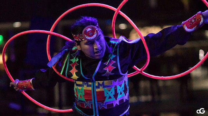 Hoop dancer Nakotah LaRance at the Hip Hop/Electronic: Indigenous Music & Dance of the Grand Performances in Los Angeles on August 10, 2018. (Photo by Anderson Gould, Jr via Indian Country Today)