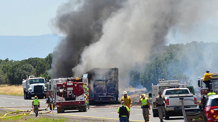 A big-rig truck caught on fire in the southbound lanes of I-17, near exit 306, Stoneman Lake Road, Wednesday afternoon. This caused a brush fire that caused all southbound lanes to be closed for hours. VVN/Vyto Starinskas